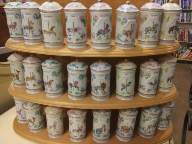 1993 Lenox Carousel Spice Jars Complete Set Of 24 With Wooden Rack