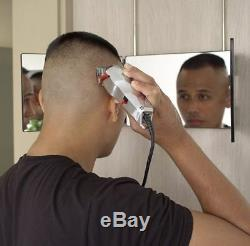 3 Way Mirror Self Cut Hair For Men Trifold Personal Bathroom Haircut Wall Mount