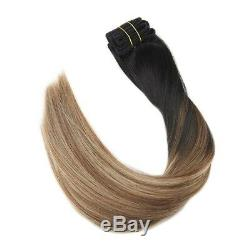 (60cm, #1b#6#16) Ugeat 60cm 100 Real Human Hair Clip in Extensions Balayage
