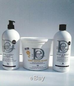 Design Essentials Honey Nectar Relaxer, 6n1 Conditioner, Neutralizer Shampoo Kit
