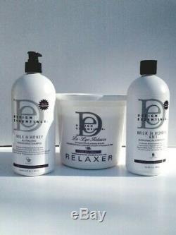 Design Essentials Lo-Lye Relaxer, neutralizer shampoo, 6n1 conditioner kit