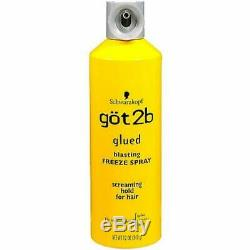 Got2b Glued Blasting Freeze Spray 12 Ounce Spray Hair Screaming Hold 3 PCS