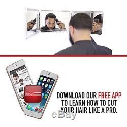 Hair Cutting System Self Grooming Kit Men 3-Way Mirror Cut Free Educational App
