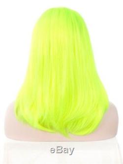 Imstyle Neon Yellow Lace Front Wig Middle Part Bob Wig Synthetic Lace Hair