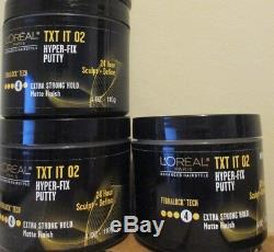 Lot of 3 Loreal TXT IT 02 Hyper-Fix Putty Extra Strong 24H Hold 4 oz