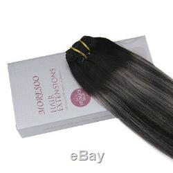 Moresoo 60cm Clip in Extensions Human Hair Balayage Colour Off Black #1B to