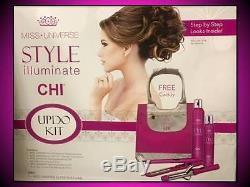 New No Box Chi Miss Universe Pink Updo Kit Hair Straightener Flat + Curling Iron