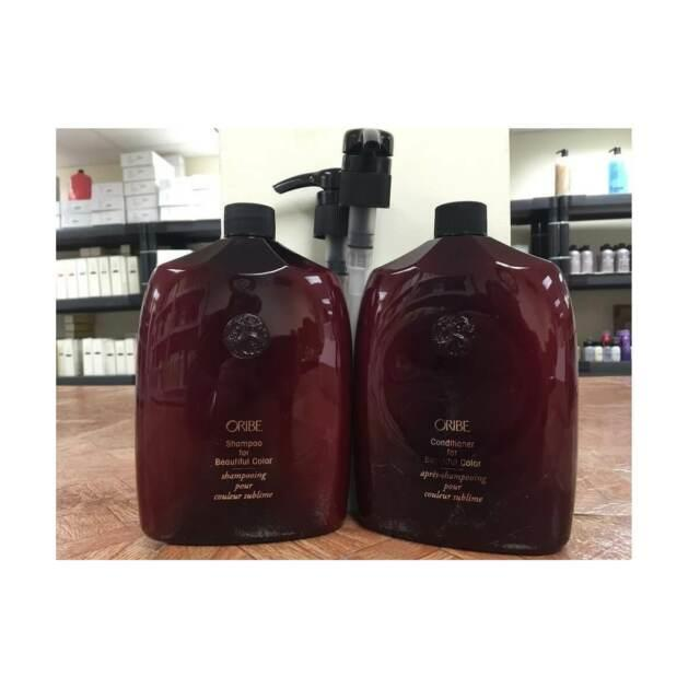 Oribe Shampoo For Beautiful Color And Conditioner 33.8 Oz Set & Pumps