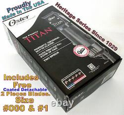 Oster Titan 2 Speed Universal Motor Clipper + Coated Detachable #000 & #1 Blades