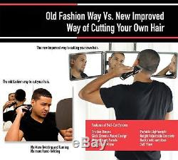 SELF-CUT SYSTEM Perfecting Self Grooming Black Lambo 3-Way Mirror NEW