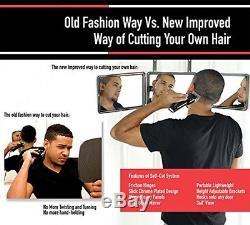 SELF-CUT SYSTEM Perfecting Self Grooming Black Lambo 3-Way Mirror with Free