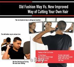 SELF-CUT SYSTEM Perfecting Self Grooming Black Lambo 3-Way Mirror with Free E
