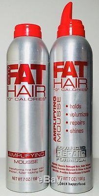 Samy Fat Hair Zero 0 Calories Amplifying Mousse 7 oz X2 Thicker Fuller Hair