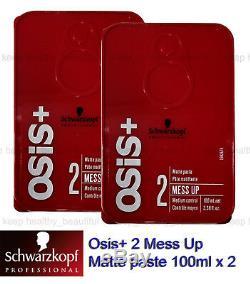 Schwarzkopf Osis+ 2 Mess Up Matte paste Medium Control 100ml x 2 FREE tracking