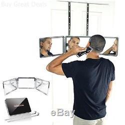 Self-Cut Grooming System Perfecting Self Grooming 3-Way Mirror, Black, New