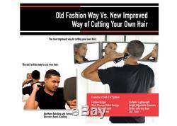 Trifold Mirror For Men Personal Bathroom DIY Haircut Wall Mount 3-Way Wall Kit