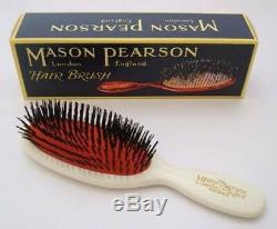 (White) Mason Pearson Brushes Pure Bristle Pocket B4. Delivery is Free